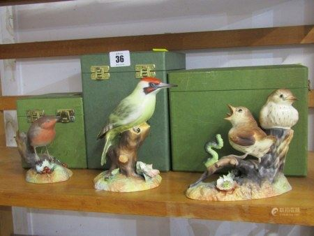 "ROYAL CROWN DERBY BIRDS, three boxed groups, ""Thrush Chicks"", ""Green Woodpecker"" & ""Robin"""