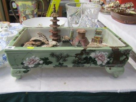 ORIENTAL CERAMICS, Chinese celadon ground rectangular display trough together with collection of