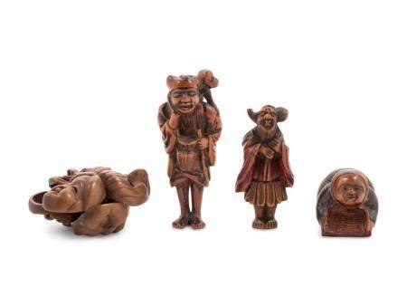 Four Boxwood Netsuke