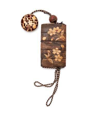 A Cherry Bark Four-Case Inro