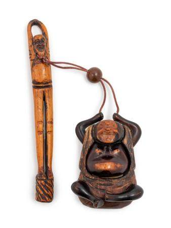 A Wood Figural-Form Inro