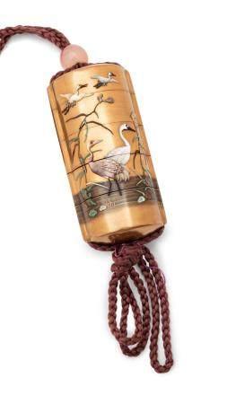 A Gold Lacquer Shibayama Inlaid Four-Case Inro