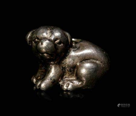 A Metal Dog-Form Ojime