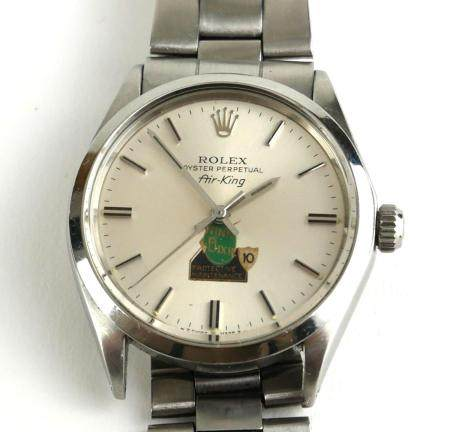 ROLEX, AIR KING, A VINTAGE STAINLESS STEEL GENT'S WRISTWATCH Circular silver tone dial with steel