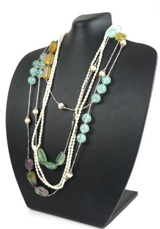 A SILVER, GEMSTONE AND PEARL SET NECKLACE Light green stones, together with a rice pearl