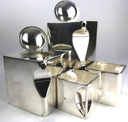 T. WILKINSON AND SONS, 'THE CUBE', A STYLISH ART DECO DESIGN FOUR PIECE SILVER PLATED TEA SET (