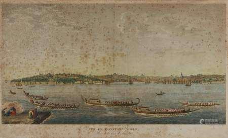 Antoine Ignace Melling (1763-1831) Vue panoramique de Constantinople, gravure, 56x93 cm -