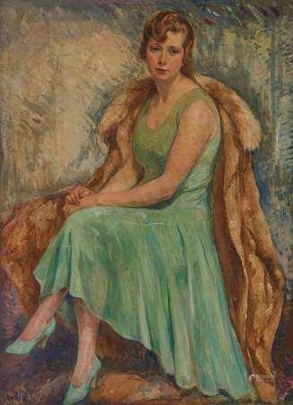 Joseph Beilin (1888-1983) Portrait de femme, huile sur toile, 132x97 cm -