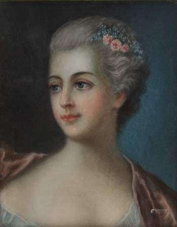 Ecole fin XVIIIe s Portrait de femme, pastel sur papier, 29x31 cm -