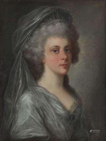 Ecole XVIIIe s Portrait de la princesse Schaumburg-Lippe, pastel sur papier,  31x24 cm -