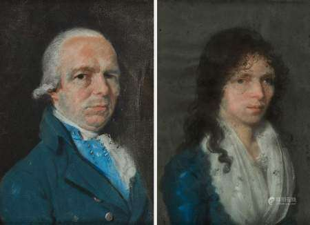 Ecole française XVIIIe s Portrait d'un gentilhomme et de son épouse, paire de [...]