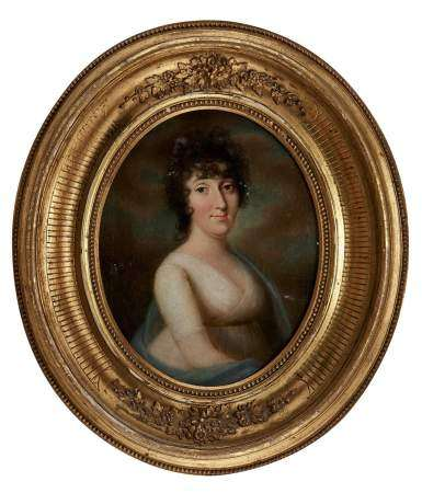 Ecole XIXe s Portrait de jeune femme, huile sur toile, 28x22 cm -