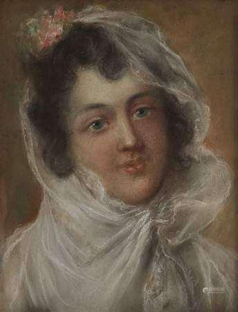 Ecole fin XVIIIe s, début XIXe s Jeune femme au foulard blanc, pastel sur papier, [...]