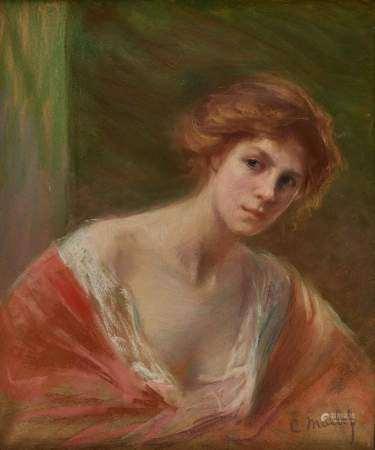 Claude Marlef (1864-?) Portrait de femme en buste, pastel sur papier, 70x58 cm -