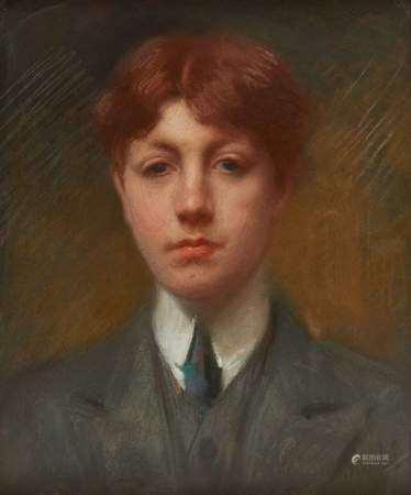 Claude Marlef (1864-?) Portrait de jeune homme à la cravate, pastel, 45x36 cm -