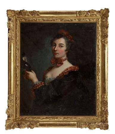 D'après Jean Raoux (1677-1734) Jeune femme au loup et ruban rouge, huile sur toile, [...]