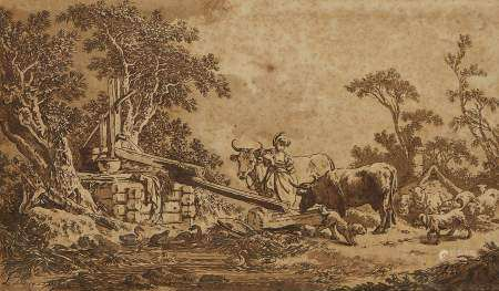 Ecole XVIIIe s signée Le Prince Scène au puits avec bergère, lavis et encre sur [...]
