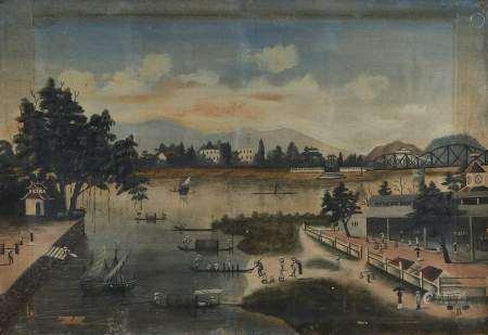 Henri Emile Vollet (1861-1945) Paysage fluvial en Indochine, gouache sur papier, [...]