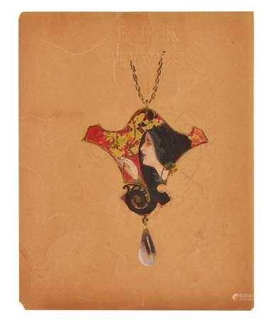 René Lalique (1860-1945) Projet de pendentif au profil féminin, circa 1900, gouache [...]