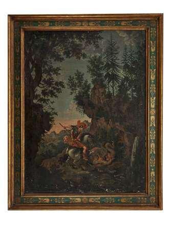 Ecole fin XIXe s Saint-Georges terrassant le Dragon, huile sur toile, 88x65 cm -