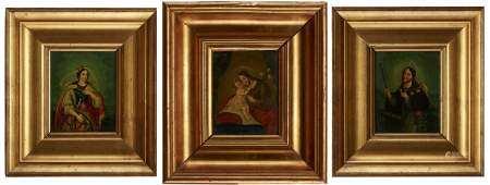 Ecole naïve XIXe s Trois scènes religieuses, huiles marouflées sur panneaux, 18x15 [...]