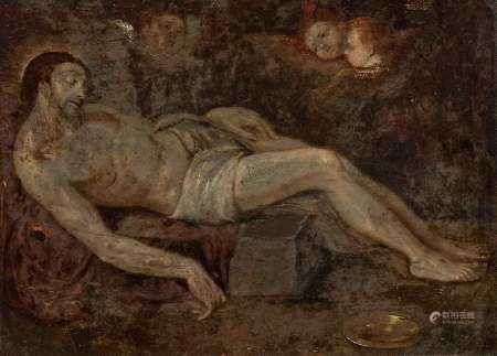 Ecole XVIIIe s Le Christ mort, huile sur cuivre, 22x30 cm -