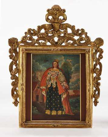 Ecole XVIIIe s/XIXe s Reine martyre, huile sur toile. Cadre en bois sculpté, ajouré [...]