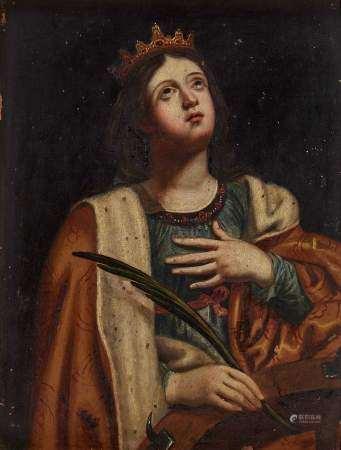 Ecole italienne XVIIIe s Sainte-Catherine, huile sur cuivre, 37x28 cm -