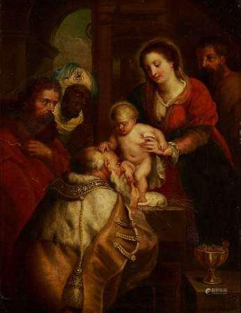 D'après Peter Paul Rubens (1577-1640) Les Rois mages, huile sur panneau, 30x23 cm -