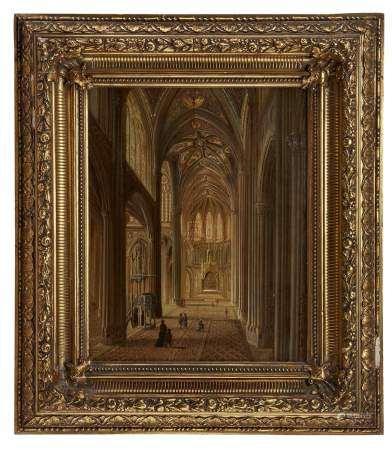 Ecole flamande XIXe s Intérieur d'église, huile sur panneau, 40x32 cm -