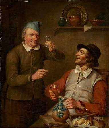 Ecole XIXe s, dans le goût de Adriaen van Ostade Scène de taverne, huile sur [...]