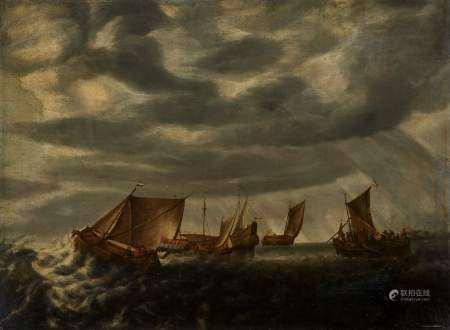Anciennement attribué à Wilhelm van de Velde (1633-1707) Marine, huile sur toile, [...]