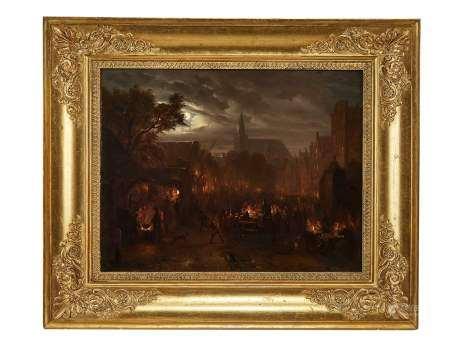 Ecole flamande, XIXe s Scène nocturne, huile sur toile, 42x51 cm -