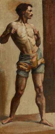 Ecole circa 1900 Etude d'homme, huile sur toile, 58x24 cm -