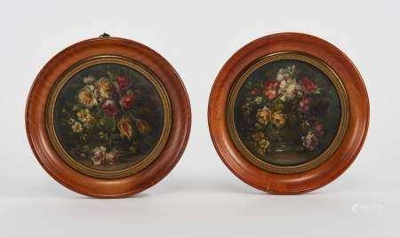 Francesco Bosso (1864-1933) Paire d'arrangements floraux, deux huiles sur panneaux, [...]