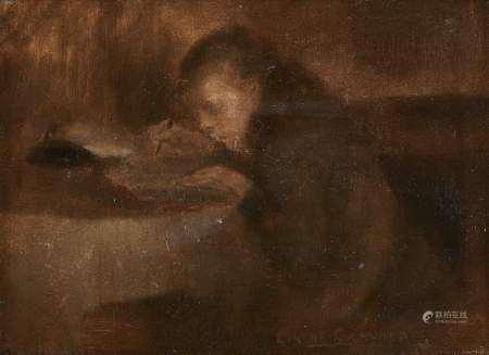 Eugène Carrière (1849-1906) Jeune homme écrivant dans un cahier, huile sur toile, [...]