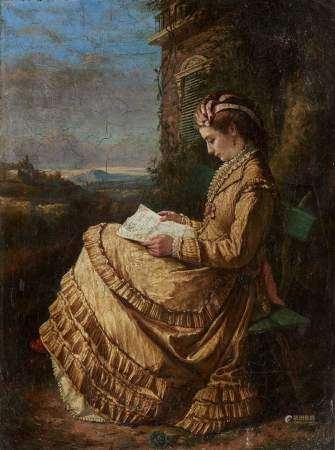 Ecole italienne signée M. Gamberini, XIXe s Jeune femme à la lecture, huile sur [...]