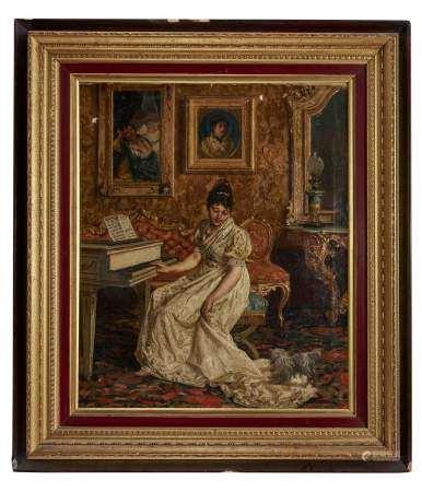 Ecole italienne, circa 1900 Elégante dans son intérieur, huile sur toile, signature [...]