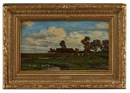 Ecole du XIXe s Pré aux vaches devant la ferme, huile sur toile, 39x65 cm -
