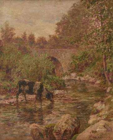 Marcelle Noyon (XIX-XXe s) Vache buvant à la rivière, huile sur toile, signée, [...]