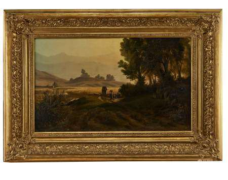 Ecole italienne, XIXe s Retour des champs, huile sur toile, 43x68 cm -