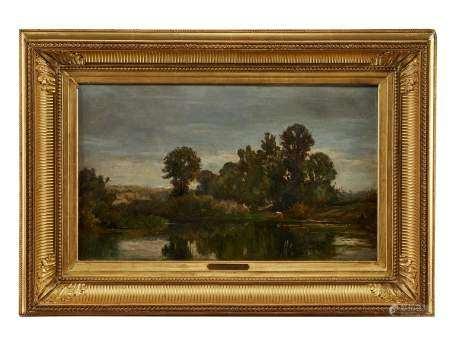 Edouard Bournichon (1816-1896) Paysage lacustre, huile sur toile, 31x50 cm -
