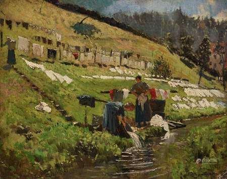 Emile Cagniart (1851-1911) Les lavandières, huile sur toile, signée, 35x43 cm -
