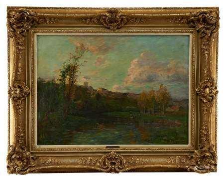 Edmond Marie Petitjean (1844-1925) Les lavandières, huile sur toile, signée, 59x81 cm -