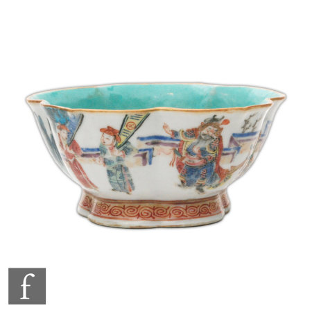 A Chinese famille rose 'Lotus' bowl, Tongzhi (1862-74) seal mark, the heavily potted foot bowl