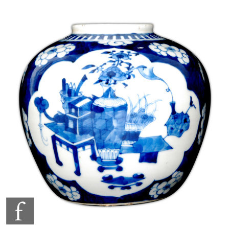 A 19th/20th Century Chinese blue and white vase, Kangxi (1662-1722) four character mark, the two fan
