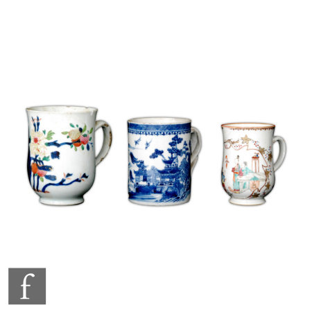 A collection of three Chinese Qianlong (1736-95) period export porcelain tankards, to include two