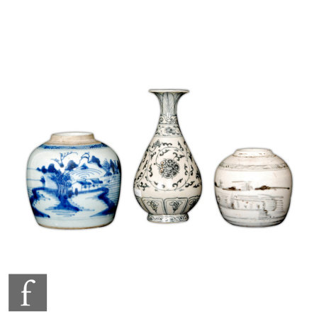 A collection of Chinese blue and white items to include two jars with abstract blue landscapes,