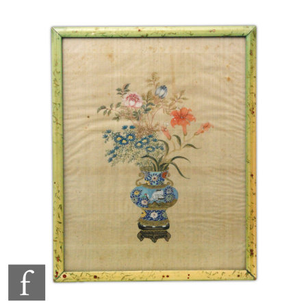 A Chinese late Qing Dynasty (1644-1912) silk drawing, painted with cloisonne vase brimming with