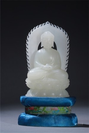 A Chinese Carved Jade Figure of Buddha